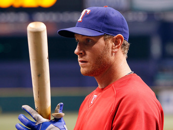 ST. PETERSBURG, FL - OCTOBER 12:  Outfielder Josh Hamilton #32 of the Texas Rangers takes batting practice before Game 5 of the ALDS against the Tampa Bay Rays at Tropicana Field on October 12, 2010 in St. Petersburg, Florida.  (Photo by J. Meric/Getty Im