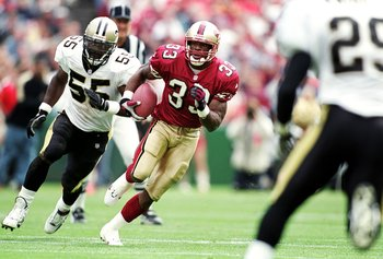19 Sep 1999:   Lawrence Phillips #33 of the San Francisco 49ers carries the ball during the game against the New Orleans Saints at 3Com Park in San Francisco, California. The 49ers defeated the Saints 28-21. Mandatory Credit: Jed Jacobsohn  /Allsport