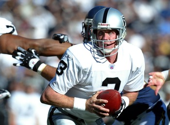 SAN DIEGO - DECEMBER 28:  Quarterback Rick Mirer #3 of the Oakland Raiders in action against the San Diego Chargers in the 1st half  during their NFL game on December 28, 2003 at Qualcomm Stadium in San Diego, California.  (Photo by Donald Miralle/Getty I