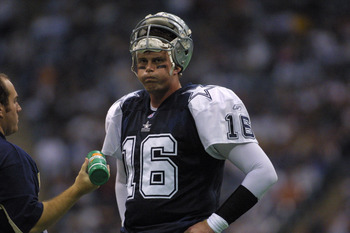22 Nov 2001 : Quarterback Ryan Leaf of the Dallas Cowboys rests on the sideline during the game against the Denver Broncos at Texas Stadium in Irving, Texas. The Broncos won 26-24. DIGITAL IMAGE. Mandatory Credit: Ronald Martinez/Getty Images
