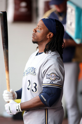 MIAMI GARDENS, FL - JUNE 06:  Rickie Weeks #23 of the Milwaukee Brewers stands on deck against the Florida Marlins at Sun Life Stadium on June 6, 2011 in Miami Gardens, Florida.  (Photo by Marc Serota/Getty Images)