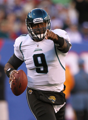 EAST RUTHERFORD, NJ - NOVEMBER 28:  David Garrard #9 of the Jacksonville Jaguars runs with the ball against  the New York Giants during the second Quarter of their game on November 28, 2010 at The New Meadowlands Stadium in East Rutherford, New Jersey.  (