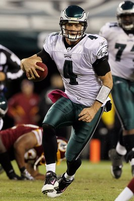 PHILADELPHIA - OCTOBER 03:  Kevin Kolb #4 of the Philadelphia Eagles against the Washington Redskins on October 3, 2010 at Lincoln Financial Field in Philadelphia, Pennsylvania. The Redskins defeated the Eagles 17-12.  (Photo by Jim McIsaac/Getty Images)