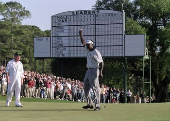 9 Apr 2000:  Vijay Singh of Fiji holes out on the 18th green to win the US Masters at Augusta National GC in Georgia, USA. \ Mandatory Credit: Andrew Redington /Allsport