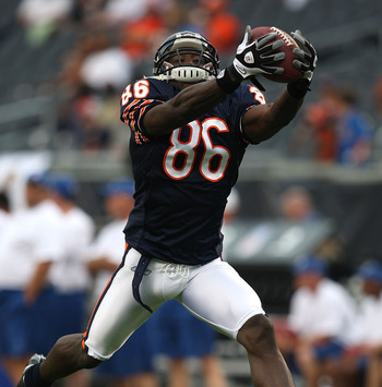 CHICAGO - AUGUST 21: Marty Booker #86 of the Chicago Bears catches a pass during warm-ups before a game against the San Francisco 49ers on August 21, 2008 at Soldier Field in Chicago, Illinois. (Photo by Jonathan Daniel/Getty Images)