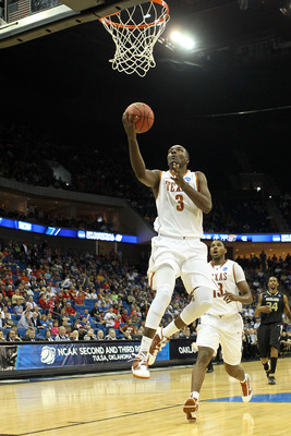 TULSA, OK - MARCH 18:  Jordan Hamilton #3 of the Texas Longhorns goes up for a shot against the Oakland Golden Grizzlies during the second round of the 2011 NCAA men's basketball tournament at BOK Center on March 18, 2011 in Tulsa, Oklahoma.  (Photo by Ro