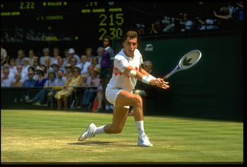 JUL 1984:  IVAN LENDL OF CZECHOSLOVAKIA PLAYS A BACKHAND SHOT DURING HIS SEMI-FINAL MATCH AGAINST JIMMY CONNORS OF THE UNITED STATES AT THE 1984 WIMBLEDON TENNIS CHAMPIONSHIPS. CONNORS WON THE MATCH 6-7, 6-3, 7-5, 6-1.