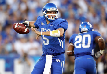 LEXINGTON, KY - SEPTEMBER 18:  Mike Hartline #5 of the Kentucky Wildcats throws a pass during the game against the Akron Zips at Commonwealth Stadium on September 18, 2010 in Lexington, Kentucky.  (Photo by Andy Lyons/Getty Images)