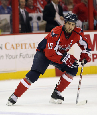 WASHINGTON, DC - APRIL 15:  Boyd Gordon #15 of the Washington Capitals skates against the New York Rangers in Game Two of the Eastern Conference Quarterfinals during the 2011 NHL Stanley Cup Playoffs at Verizon Center on April 15, 2011 in Washington, DC.