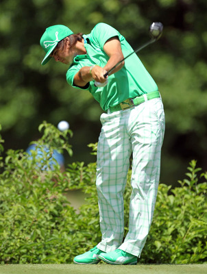 DUBLIN, OH - JUNE 02:  Ricky Fowler hits his tee shot on the par 4 18th hole during the first round of The Memorial Tournament presented by Nationwide Insurance at Muirfield Village Golf Club on June 2, 2011 in Dublin, Ohio.  (Photo by Andy Lyons/Getty Im