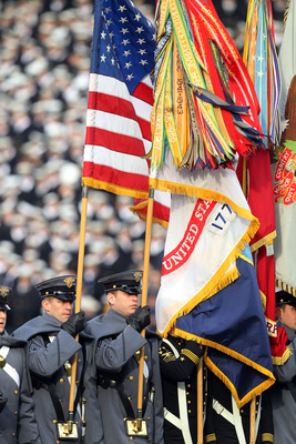 PHILADELPHIA - DECEMBER 11: The color guard marches off the field before a game between the Navy Midshipmen and the Army Black Knights on December 11, 2010 at Lincoln Financial Field in Philadelphia, Pennsylvania. The Midshipmen won 31-17. (Photo by Hunte