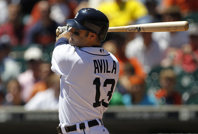 DETROIT - JUNE 17: Alex Avila #13 of the Detroit Tigers doubles to left center field in the second inning scoring Brandon Inge and Carlos Guillen to give the Tigers a 2-0 lead over the Washington Nationals on June 17, 2010 at Comerica Park in Detroit, Mic