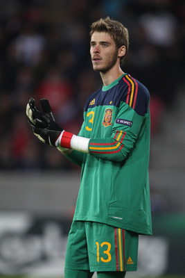 HERNING, DENMARK - JUNE 12:  David de Gea of Spain during the UEFA European Under-21 Championship Group B match between England and Spain at the Herning Stadium on June 12, 2011 in Herning, Denmark.  (Photo by Michael Steele/Getty Images)