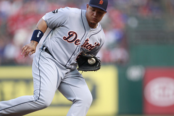 ARLINGTON, TX - JUNE 07: Miguel Cabrera #24 of the Detroit Tigers catches a line drive during the game against the Texas Rangers at Rangers Ballpark in Arlington on June 7, 2011 in Arlington, Texas.  (Photo by Rick Yeatts/Getty Images)