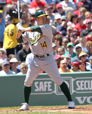 BOSTON, MA - JUNE 5:  Mark Ellis #14 of the Oakland Athletics bats against the Boston Red Sox at Fenway Park on June 5, 2011 in Boston, Massachusetts.  (Photo by Jim Rogash/Getty Images)