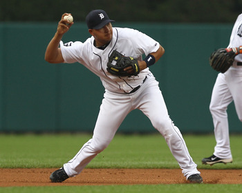 DETROIT, MI - JUNE 10:  Short Stop Jhonny Peralta #27 of the Detroit Tigers gets set to throw the ball to first base during a MLB game against the Seattle Mariners at Comerica Park on June 10, 2011 in Detroit, Michigan.  Seattle defeated Detroit 3-2.  (Ph