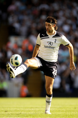 LONDON, ENGLAND - APRIL 09:  Vedran Corluka of Spurs on the ball during the Barclays Premier League match between Tottenham Hotspur and Stoke City at White Hart Lane on April 9, 2011 in London, England.  (Photo by Ian Walton/Getty Images)
