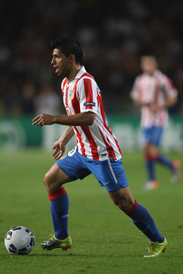 MONACO - AUGUST 27:  Sergio Aguero of Atletico Madrid during the UEFA Super Cup match between Inter Milan and Atletico Madrid at Louis II Stadium on August 27, 2010 in Monaco, Monaco.  (Photo by Michael Steele/Getty Images)