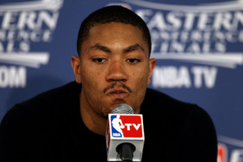 CHICAGO, IL - MAY 26:  Derrick Rose #1 of the Chicago Bulls answers questions from the media following the Bulls 83-80 loss against the Miami Heat in Game Five of the Eastern Conference Finals during the 2011 NBA Playoffs on May 26, 2011 at the United Cen