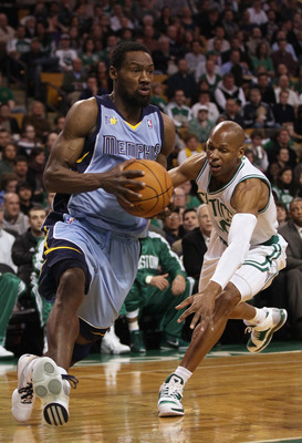 BOSTON, MA - MARCH 23:  Tony Allen #9 of the Memphis Grizzlies heads for the net as Ray Allen #20 of the Boston Celtics defends on March 23, 2011 at the TD Garden in Boston, Massachusetts.  NOTE TO USER: User expressly acknowledges and agrees that, by dow