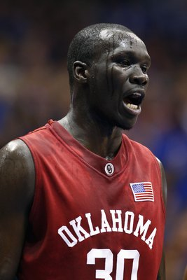 LAWRENCE, KS - JANUARY 14: Longar Longar #30 of the Oklahoma Sooners yells during the game against the Kansas Jayhawks on January 14, 2008 at Allen Fieldhouse in Lawrence, Kansas. (Photo by Jamie Squire/Getty Images)