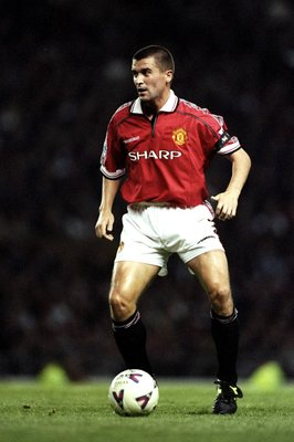 9 Sep 1998:  Roy Keane of Manchester United on the ball during the FA Carling Premiership match against Charlton Athletic at Old Trafford in Manchester, England. United won 4-1. \ Mandatory Credit: Clive Brunskill /Allsport
