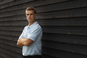 VEJLE, DENMARK - JUNE 13:  Jordan Henderson of England poses for a portrait during a England under 21's Press Conference at Comwell Kellers Park Golf Club on June 13, 2011 in Brejning, near Vejle, Denmark.  (Photo by Ian Walton/Getty Images)