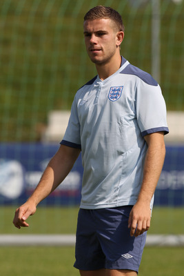 FREDERICIA, DENMARK - JUNE 11:  Jordan Henderson during the England U21's training session at Monjasa Park Stadium on June 11, 2011 in Fredericia, Denmark.  (Photo by Michael Steele/Getty Images)