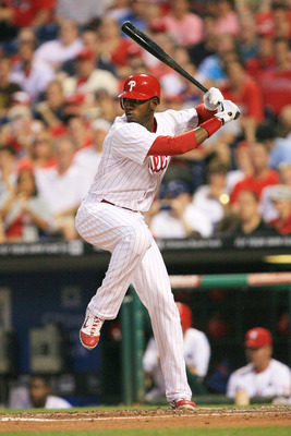 PHILADELPHIA - JUNE 8: Right fielder Domonic Brown #9 of the Philadelphia Phillies bats during a game against the Los Angeles Dodgers at Citizens Bank Park on June 8, 2011 in Philadelphia, Pennsylvania. The Phillies won 2-0. (Photo by Hunter Martin/Getty