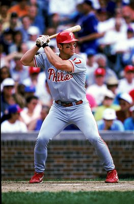 27 Jun 1999: Scott Rolen #17 of the Philadelphia Phillies stands ready at bat during the game against the Chicago Cubs at Wrigley Feild in Chicago, Illinois. The Cubs defeated the Phillies 13-7.