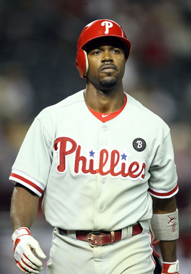 PHOENIX, AZ - APRIL 26:  Jimmy Rollins #11 of the Philadelphia Phillies reacts after striking out against the Arizona Diamondbacks during the Major League Baseball game at Chase Field on April 26, 2011 in Phoenix, Arizona. The Diamondbacks defeated the Ph