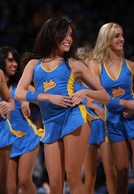WESTWOOD, CA - FEBRUARY 7:  UCLA Bruins cheerleaders perform during the game the Notre Dame Fighting Irish on February 7, 2009 at Pauley Pavillion in Westwood, California.  UCLA won 89-63.   (Photo by Stephen Dunn/Getty Images)