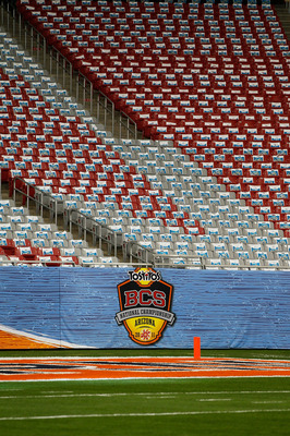 GLENDALE, AZ - JANUARY 10:  Signage is displayed at the Tostitos BCS National Championship Game between the Oregon Ducks and the Auburn Tigers at University of Phoenix Stadium on January 10, 2011 in Glendale, Arizona.  (Photo by Kevin C. Cox/Getty Images)