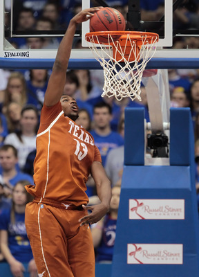 LAWRENCE, KS - JANUARY 22:  Tristan Thompson #13 of the Texas Longhorns dunks against the Kansas Jayhawks during the game on January 22, 2011 at Allen Fieldhouse in Lawrence, Kansas.  (Photo by Jamie Squire/Getty Images)