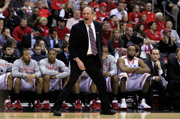 NEWARK, NJ - MARCH 25:  head coach Thad Matta of the Ohio State Buckeyes stands on the court during the first half of the game against the Kentucky Wildcats in the east regional semifinal of the 2011 NCAA Men's Basketball Tournament at the Prudential Cent
