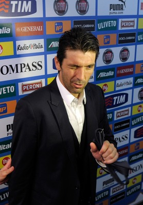 MODENA, ITALY - JUNE 02:  Gianluigi Buffon of Italy attends a press conference ahead of the EURO 2012 Group C qualifier against Estonia at Alberto Braglia Stadium on June 2, 2011 in Modena, Italy.  (Photo by Claudio Villa/Getty Images)