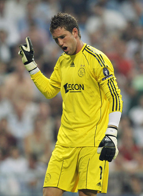 MADRID, SPAIN - SEPTEMBER 15: Maarten Stekelenburg of Ajax reacts during the UEFA Champions League group G match between Real Madrid and AFC Ajax at Estadio Santiago Bernabeu on September 15, 2010 in Madrid, Spain. (Photo by Angel Martinez/Getty Images)