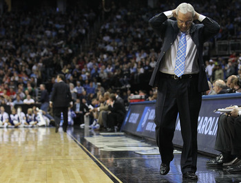 NEWARK, NJ - MARCH 27:  Head coach Roy Williams of the North Carolina Tar Heels reacts after being defeated by the Kentucky Wildcats in the east regional final of the 2011 NCAA men's basketball tournament at Prudential Center on March 27, 2011 in Newark,