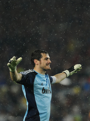 BARCELONA, SPAIN - MAY 03:  Goalkeeper Iker Casillas of Real Madrid reacts during the UEFA Champions League Semi Final second leg match between Barcelona and Real Madrid at the Camp Nou stadium on May 3, 2011 in Barcelona, Spain.  (Photo by Jasper Juinen/