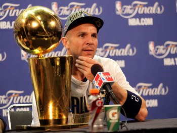 MIAMI, FL - JUNE 12:  Jason Kidd #2 of the Dallas Mavericks answers questions from the media at a post game news conference after the Mavericks won 105-95 against the Miami Heat in Game Six of the 2011 NBA Finals at American Airlines Arena on June 12, 201