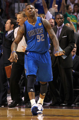 MIAMI, FL - JUNE 12:  DeShawn Stevenson #92 of the Dallas Mavericks celebrates after he made a 3-point shot in the first half against the Dallas Mavericks in Game Six of the 2011 NBA Finals at American Airlines Arena on June 12, 2011 in Miami, Florida. NO