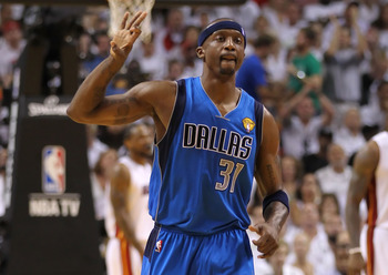 MIAMI, FL - JUNE 12:  Jason Terry #31 of the Dallas Mavericks gestures on court after making a three-point shot in the second quarter while taking on the Miami Heat in Game Six of the 2011 NBA Finals at American Airlines Arena on June 12, 2011 in Miami, F