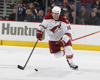 COLUMBUS, OH - JANUARY 11: Ed Jovanovski #55 of the Phoenix Coyotes skates against the Columbus Blue Jackets during a game on January 11, 2011 at the Nationwide Arena in Columbus, Ohio. (Photo by Gregory Shamus/Getty Images)