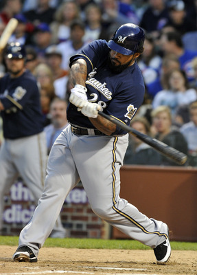 CHICAGO, IL - JUNE 13: Prince Fielder # 28 of the Milwaukee Brewers bats against the Chicago Cubs on June 13, 2011 at Wrigley Field in Chicago, Illinois.  The Cubs defeated the Brewers 1-0.  (Photo by David Banks/Getty Images)