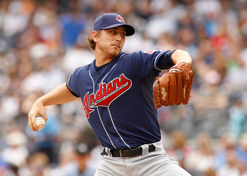 NEW YORK - JUNE 12:  Josh Tomlin #43 of the Cleveland Indians delivers a pitch in the first inning against the New York Yankees on June 12, 2011 at Yankee Stadium in the Bronx borough of New York City.  (Photo by Mike Stobe/Getty Images)