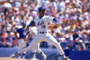FLUSHING, NY - UNDATED:  Dwight Gooden #16 of the New York Mets delivers a pitch during a game at Shea Stadium circa 1984-1994 in Flushing, New York.  (Photo by Scott Halleran/Getty Images)