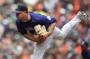 SAN FRANCISCO, CA - JUNE 04:  Jhoulys Chacin #45 of the Colorado Rockies pitches against the San Francisco Giants during an MLB game at AT&T Park on June 4, 2011 in San Francisco, California.  (Photo by Jed Jacobsohn/Getty Images)