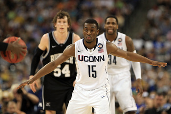 HOUSTON, TX - APRIL 04:  Kemba Walker #15 of the Connecticut Huskies looks on against the Butler Bulldogs during the National Championship Game of the 2011 NCAA Division I Men's Basketball Tournament at Reliant Stadium on April 4, 2011 in Houston, Texas.