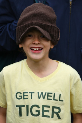 SOUTHPORT, UNITED KINGDOM - JULY 18:  A young spectator wears a t-shirt wishing Tiger Woods well during the second round of the 137th Open Championship on July 18, 2008 at Royal Birkdale Golf Club, Southport, England.  (Photo by Stuart Franklin/Getty Imag