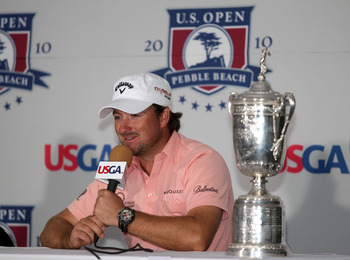 PEBBLE BEACH, CA - JUNE 20:  Graeme McDowell of Northern Ireland speaks with the media after winning the 110th U.S. Open at Pebble Beach Golf Links on June 20, 2010 in Pebble Beach, California.  (Photo by Andrew Redington/Getty Images)